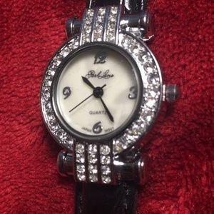 Jewelry - Park lane Black leather wrist watch